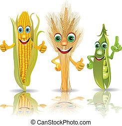 guisantes, orejas, divertido, maíz, vegetales
