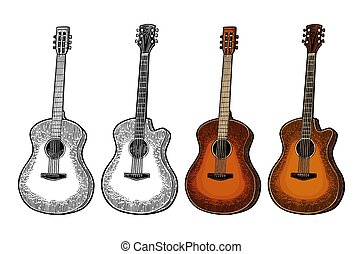 guitar., 彫版, 色, 音響, ベクトル, イラスト, 型