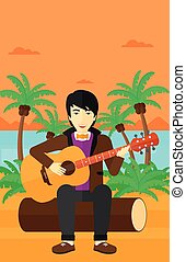 guitar., 遊び, 人