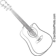 guitar., acústico, vector, ilustración, colorless