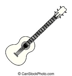 guitar acoustic icon cartoon in black and white