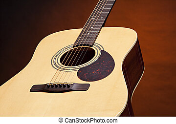 Guitar Acoustic Isolated on Gold