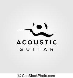 guitar acoustic negative space simple logo design illustration