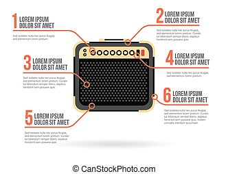 Guitar amplifier icon vector infographic