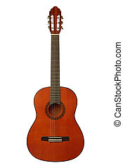 Guitar. An acoustic six-string guitar isolated by a plot a background