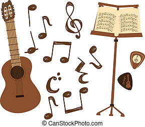 guitar and music note