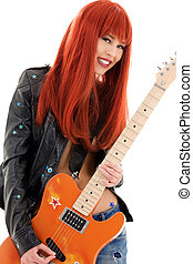 guitar babe - picture of lovely redhead girl with orange ...