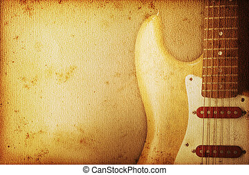 guitar Background - Beautiful guitar on old nostalgic...