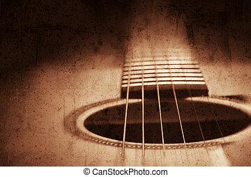 Guitar background - Grunge textured guitar background with...