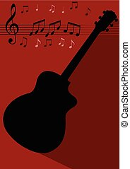 Guitar black silhouette with long shadow on dark red background, treble clef, stave, notes. Flyer, leflet template with musical theme