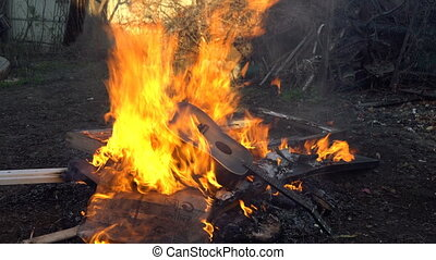Guitar burning in fire