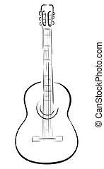 Guitar - Classical acoustic guitar. Vector monochrome ...