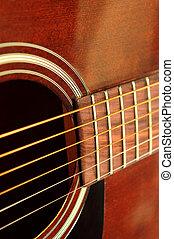 Guitar close up - Body of an acoustic guitar close up