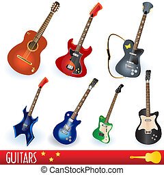 Guitar collection - A set of seven different guitars, easy...