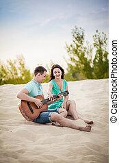 guitar, couple, beach