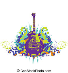 Guitar on the  grunge background.  illustration.