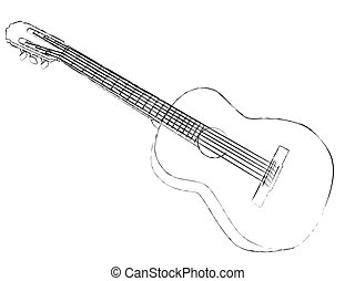 Guitar - Monochrome image of guitar on white background.