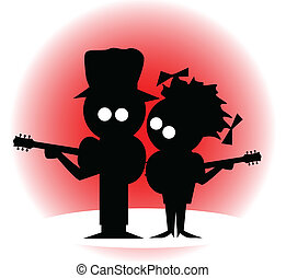Silhouette of a cartoon character duo with guitars.