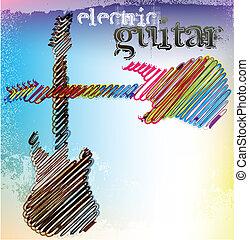 guitar., elvont, vektor, zenés, ábra