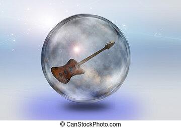 Guitar encased in glass