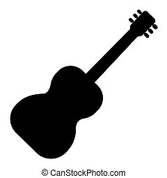 guitar flamenco 2 icon, vector illustration, black sign on isolated background