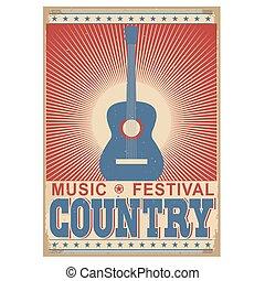 guitar., fondo, isolato, musica, vettore, festival, bianco