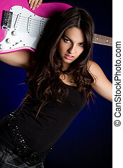 Guitar Girl - Girl holding electric guitar