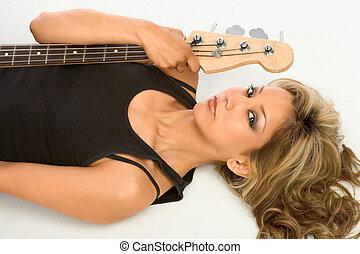 Guitar girl On the floor