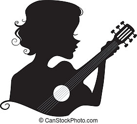 Guitar Girl Silhouette