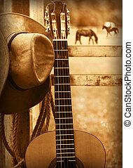 guitar., grafické pozadí, americký, hudba, klobouk, kovboj