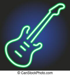guitar green neon glowing on dark background of vector illustration