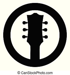 Guitar Headstock Black Rubber Stamp Icon