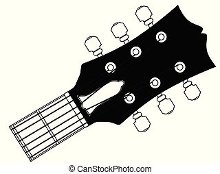 Guitar Headstock Outline Drawing - A traditional guitar...