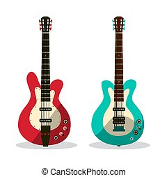 Guitar Icon. Abstract Vector Retro Guitars Isolated on White Background.