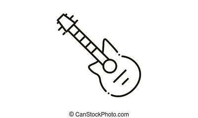 Guitar Icon Animation. black Guitar animated icon on white background