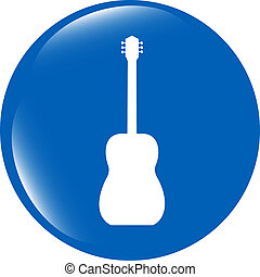 Guitar - icon button isolated on white background