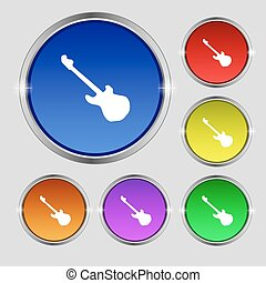 Guitar icon sign. Round symbol on bright colourful buttons. Vector