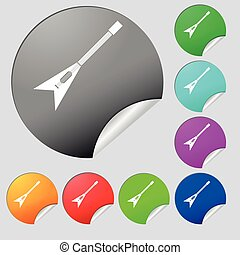 guitar icon sign. Set of eight multi colored round buttons, stickers. Vector