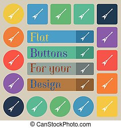 guitar icon sign. Set of twenty colored flat, round, square and rectangular buttons. Vector