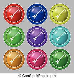 guitar icon sign. symbol on nine round colourful buttons. Vector