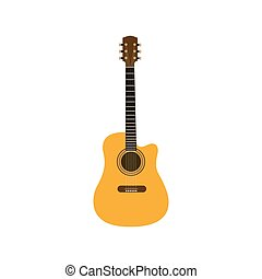 Guitar icon vector, Acoustic musical instrument sign Isolated on white background. Trendy Flat style for graphic design, logo, Web site, social media, UI, mobile app