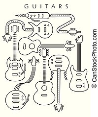 Guitar illustration in black line on a white