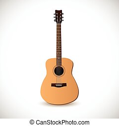 Guitar - Image of an acoustic guitar isolated on a white...