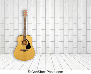 Guitar in empty room background