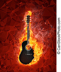 Guitar in fire on polygonal background