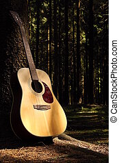 Guitar in forest