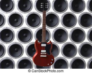 guitar in front of loudspeakers