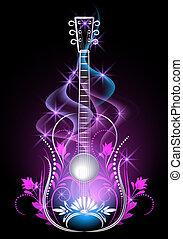 Guitar in smoke and stars