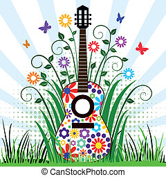 Guitar in the meadow - Guitar with flower design in the...