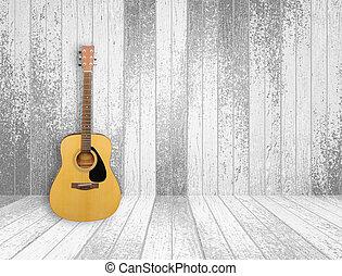 guitar, ind, gamle, rum, baggrund
